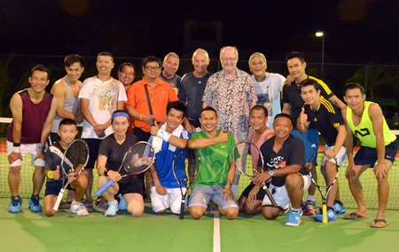 Tennis players and organizers pose for a group photo following the conclusion of the mini tennis tournament at Paradise Villas 1 in Pattaya on Thursday, November 13. The next event in the series will take place this weekend, Nov. 22-23 at Jomtien Condotel and Village.