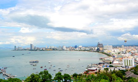 Pattaya Beach from atop Pratamnak Hill.