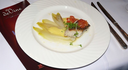 The oven-roasted barramundi steak with Belgian endives was a most pleasant dish.