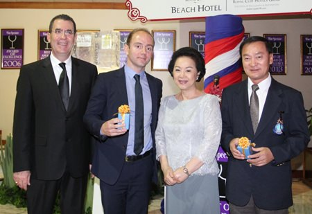 (L to R) Antonello Passa, General Manager of the Royal Cliff Hotels Group; Berenger Le Boursicot, the current Export Manager for Southeast Asia & the Middle East of Borie Manoux: Bordeaux Wine Negociant & Classified Estates owner; Panga Vathanakul, Managing Director of the Royal Cliff Hotels Group; and Anirut Posakrisna, the owner and chairman of Sri Siam Co., Ltd.