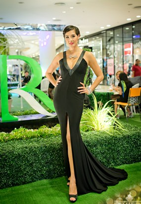 Riviera Group's Brand Ambassador, Metinee, Kingpayome, a.k.a. 'Lookked' strikes a glamorous pose on The Riviera Jomtien show stand at Central Beach shopping mall, Pattaya.