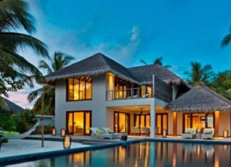 The luxurious new 3-bedroom beach residence at Dusit Thani Maldives resort.