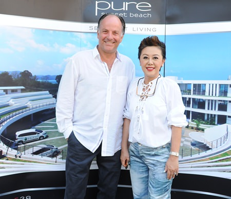 Architect Nicolas Buchler (left) and director of marketing and sales Naparat Sihanatkathakul (right), the driving force behind Pure Sunset Beach.