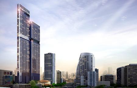 An artist's rendering shows Ananda Development's Ashton Asoke project (left) in Bangkok.
