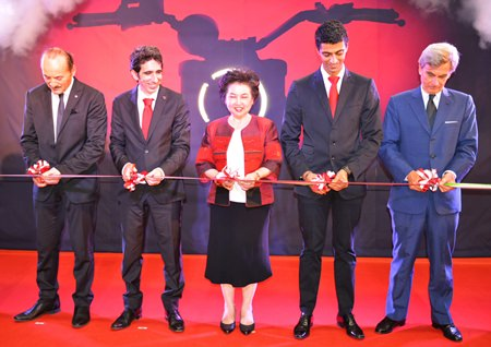 VIP members cut the ribbon (L to R) Silvano Fini, Production Director of Ducati Motor Thailand; Francesco Milicia, Managing Director of Ducati Motor Thailand; Atchaka Sibunruang, Permanent Secretary of the Ministry of Industry; Pierfrancesco Scalzo, Manager of Sales & Marketing of Ducati Motor Thailand; and Francesco Nisio, Italian Ambassador to Thailand on the official opening day of Ducati Motor Thailand in Amata City, Rayong.