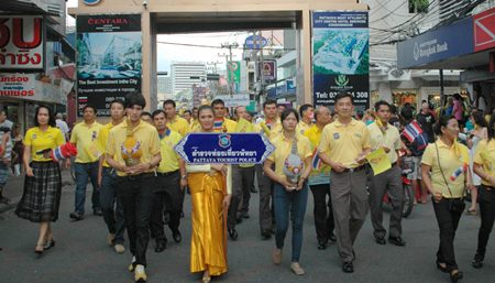 Pattaya Tourist Police lead the parade into Bali Hai.