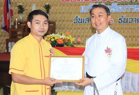 Sakorn Patipa received an award for being the best Electronics student.