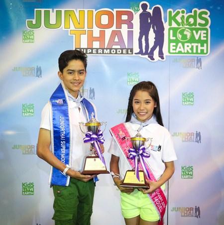 Carmas and Nanear won the HRH Princess Soamsawalee trophies at the Junior Thai Supermodel contest in Bangkok.