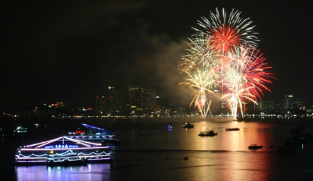 The fireworks not only lit up the night sky, they also lit up Pattaya Bay.