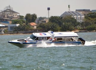 """Bangkok Hospital Pattaya bought a """"hydrolance"""" to carry passengers to safety on the water."""