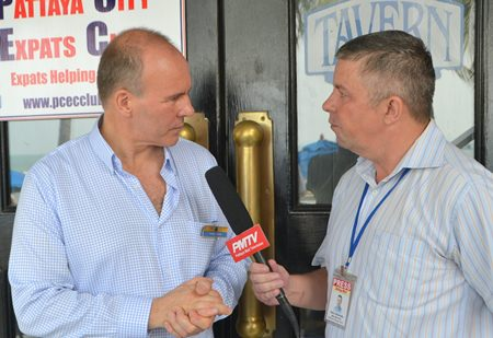 Dr. Peter Lewis after his presentation to the PCEC is interviewed by Paul Strachan with Pattaya Mail TV on the porch of the Amari's Tavern by the Sea Restaurant.