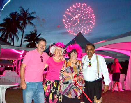 Peter Malhotra, MD of the Pattaya Mail Media Group (right) along with Elfi Seitz of Pattaya Blatt and their friends enjoy the grand fireworks finale.
