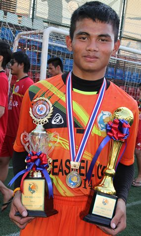 Fifteen year old Somchai, captain of the Banglamung Boys Home, was the top goal scorer and voted best player of the tournament.