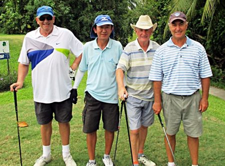 Garry Hookey, Larry Gibb, Dave Lehane & Brian Beaupre, runners-up (121 points) in the John Preddy Memorial team tournament on Monday, Nov. 24 at Emerald.