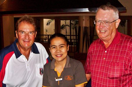 Thanksgiving Day winners, Andre Van Dyk (left) and Dick Warberg (right) with one of BJ's helpers.