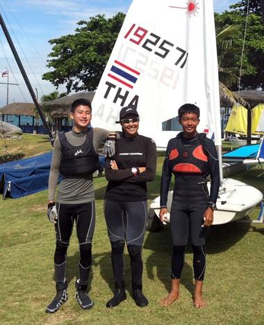 Three of the brightest prospects in Thai sailing: Chusitt Punjamala, Kamolwan Chanyim and Apiwat Sringam.