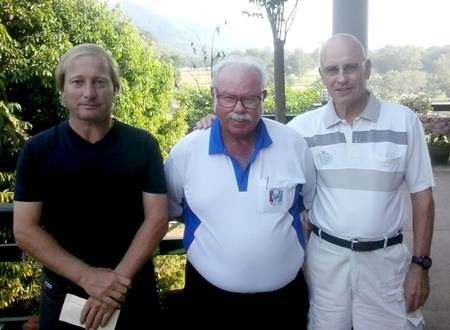 Mike Allidi (left) and Svende Gaarde (right) with Dave Richardson.