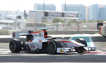 Stuvik tackles the Yas Marina circuit in Abu Dhabi.