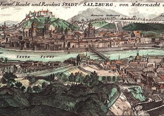 Salzburg around Leopold Mozart's time (Painting by J. B. Homann).