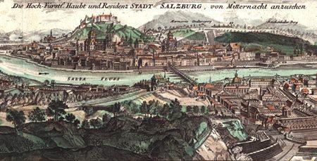 Salzburg around Leopold Mozart's time (Painting by J. B. Homann).
