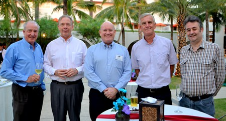 (L to R) Dr. Iain Corness; Michael North, North Engineers & Design Associates; Graham Macdonald, President of the South African Thai Chamber of Commerce; Jerry Stewart; and Mark Butters, Director of RSM Advisory (Thailand) Ltd.