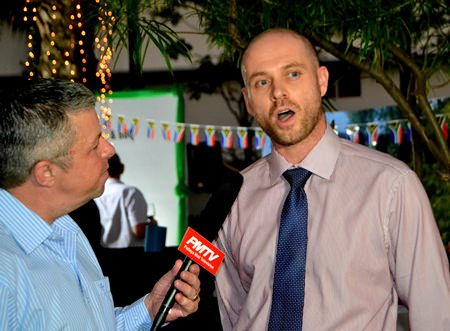 Paul Strachan from PMTV interviews James Swan, the Deputy Headmaster of Bromsgrove International School Thailand, the lead sponsor for the event.