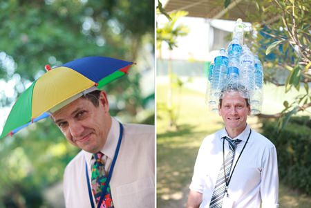 Teachers joined in - with Biology teacher Mr Cullen making his own recycled hat.