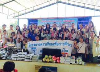 The YWCA Bangkok-Pattaya Center, led by Chairwoman Praichit Jetapai, present 100,000 baht in satellite dishes, sports equipment, school supplies, and socks to schools in Chaiyaphum Province's Muang District.