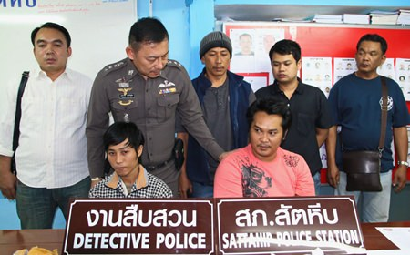 Somyos Thosura (left) and Anek Yaembuppa (right) were arrested for passion with intent to sell narcotics.