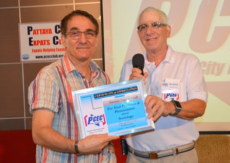 MC Richard Silverberg presents the PCEC Certificate of Appreciation to Steven Lance Stoll for his fast-paced and at times provocative presentation.