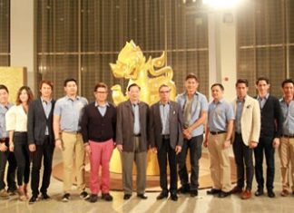Members of Singha Corporation's Executive Board at the 12th Roi Duang Jai Sai Yai Singha at the Royal Cliff Hotels Group's Pattaya Exhibition and Convention Hall.