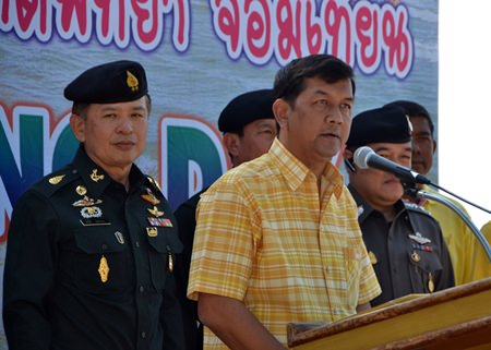 Chonburi Deputy Gov. Chawalit Saeng-Uthai announces the itinerary for the day.