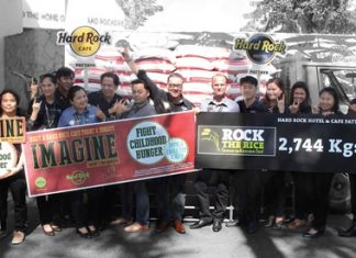 Hard Rock Hotel & Cafe Pattaya, led by General Manager Jorge Carlos Smith, donated 2,747 kilograms of Thai Jasmine rice to 5 charities for underprivileged kids in Pattaya.