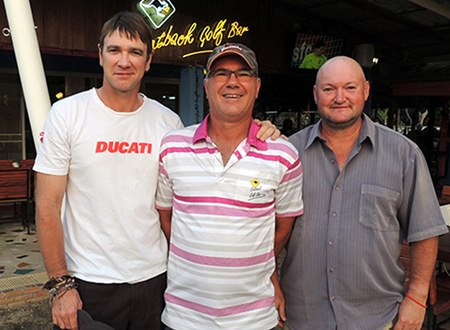 Kim Danboise (centre) flanked by Adrian Schmidt (left) and Peter Bye.
