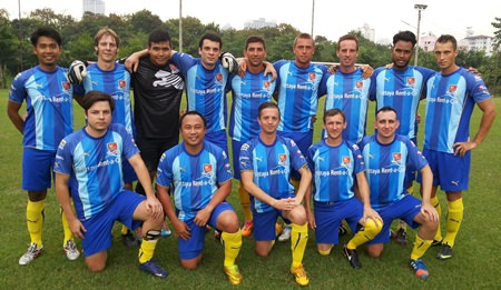 Pattaya City players pose for a team photo.