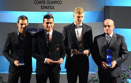 (From left) Euroformula Open drivers Alex Palou, Sandy Stuvik and Artur Janosz pose with Niki Rocca of RP motorsport during the FIA awards ceremony in Madrid, Spain, Dec. 26.