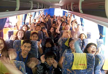 St Andrews' students en route to the Philippines for the annual Drama Fobisia Festival.