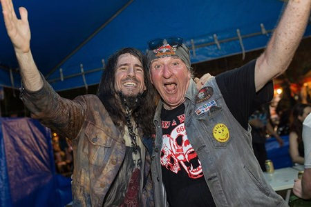 "Ron ""Bumblefoot"" Thal (left) from Guns n Roses hams for the camera with Richy Rhodes, one of the organizers of the Burapa Bike Week."