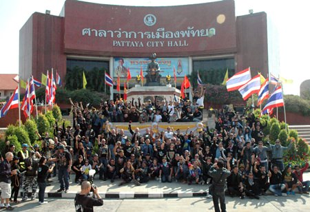 Big bikers gather in front of Pattaya City Hall before riding through Pattaya and Jomtien promoting peace and adding color to tourism.