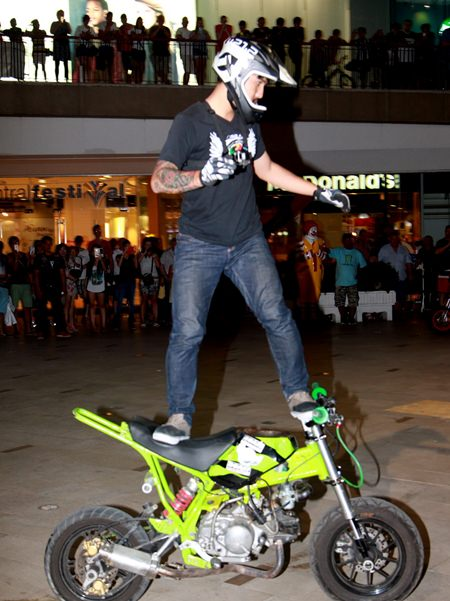 Stunt cyclists put on a show at the pre-launch press conference.