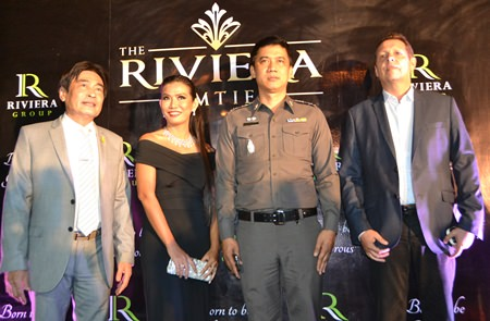 (L to R) Deputy Mayor Ronakit Ekasingh, Kasina Thammasuwan, Managing Director of Clare Pattaya Property, Pol. Col Sukthat Pumpunmuang, superintendent of Pattaya Police Station, and investor Rolf Haupt.
