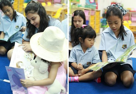 Older students volunteered to help younger ones with their reading.