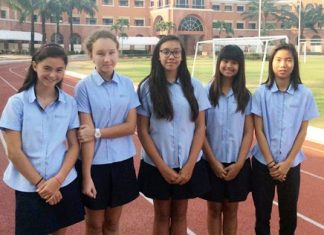 Year 8 Regents students involved in the Make it Right initiative (from left to right) Camille, Alyssa, Jennifer, Nae Nhae and Billy.