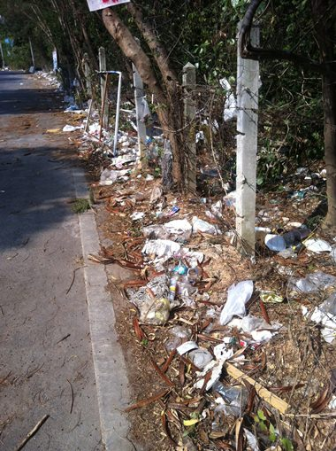 Piles of garbage all along the soi.
