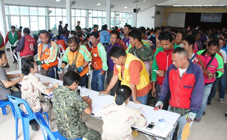 Sattahip District drug tested more than 453 motorcycle taxi operators. All proved drug-free.