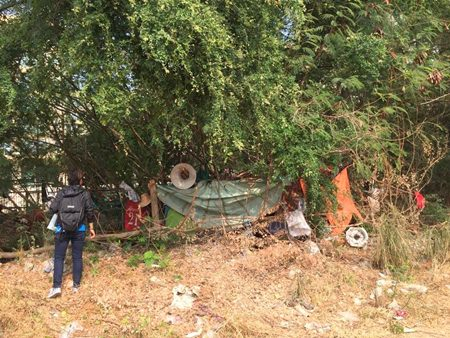 Homeless people living in the empty lot behind South Pattaya's Grand Hall Market will be rounded up and sent to the Sukhumvit Soi 3 relief center once officials find the land owner and ask for permission to remove them.