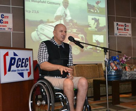 Jens Maspfuhl tells his PCEC audience that having a positive attitude was key to his success in playing golf again after his tragic accident. He described how he also established a foundation in Germany to raise money for victims of the tsunami that hit Thailand and to help disabled people in Thailand.