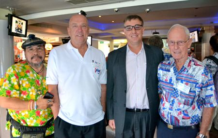 Club members Sermsakdi, Roy Albiston, and Richard Smith pose with Amari Resort's new Resident Manager Richard Gamlin (3rd from left) who had just been introduced to the PCEC members and guests.