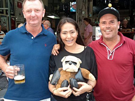 Dave Fletcher (left) with Sara, holding Deefa the Dog, and Compass Cap winner Irish Steve.