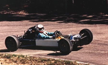 Racing a Formula Ford at the Australian Hill Climb championships.